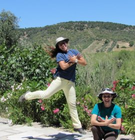 Elisavet Z. and Elisavet T. from HOS/ BirdLife Greece in the Vravrona wetland, Attica
