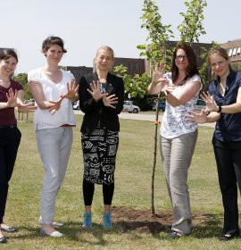 NABU/BirdLife Germany planting Apple Tree at VW factory Wolfsburg
